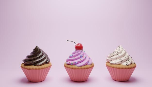 Superfície rosa com três diferentes cupcakes doces