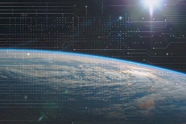 Superfície terrestre de fundo de tecnologia de conexão global