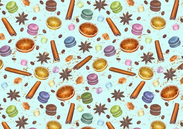 Superfície vintage turquesa colorida de natal com estrelas de anis desenhada à mão em aquarela, paus de canela, cubos de açúcar, fatias de frutas cítricas, macarons, marshmallow e grãos de café