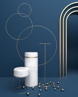 Superfícies de mármore de plataforma geométrica e circular
