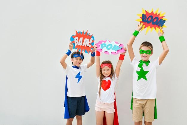 Superheroes kids costume bubble comic concept