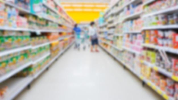 Supermercado desfocado e desfocado para o fundo