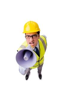 Supervisor de construção com raiva isolado
