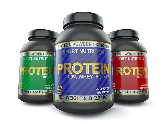 Suplementos de proteína para musculação isolados no branco