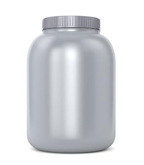 Suplementos para musculação: lata de proteína ou pó gainer isolado no fundo branco
