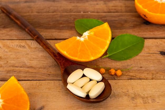 Suplementos vitamina c arranjo estilo plano