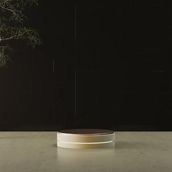 Suporte circular de ouro em anel colorido com árvore e piso de cimento