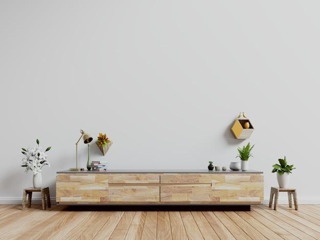 Suporte da tevê, armário da tevê na sala vazia moderna, parede branca.