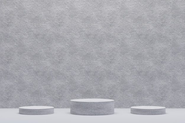 Suporte de concreto para exibição. suporte de produto vazio com forma geométrica. 3d rendem.