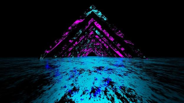 Suporte de exibição de renderização 3d fundo de néon brilhante abstrato