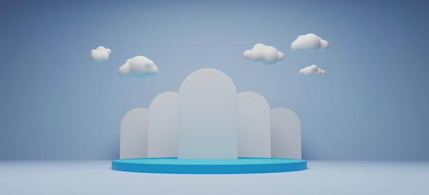 Suporte de exposição do produto e rendição da nuvem 3d.