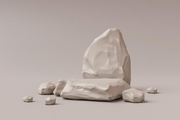 Suporte de fundo de produto de pedra marrom ou pedestal de pódio de rocha em display promocional com fundos em branco. .
