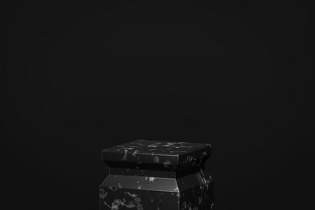 Suporte de fundo de produto de vitrine de mármore preto ou pedestal de pódio em display escuro com cenários luxuosos. renderização 3d.