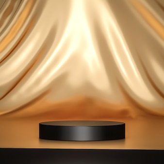 Suporte de fundo de produto dourado ou pedestal de pódio em display de publicidade de luxo com cenários em branco. renderização 3d.