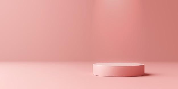 Suporte de fundo de produto rosa ou pedestal de pódio em display promocional com cenários em branco. .