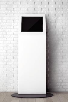 Suporte de informações branco em frente à parede de tijolos com moldura em branco closeup extrema
