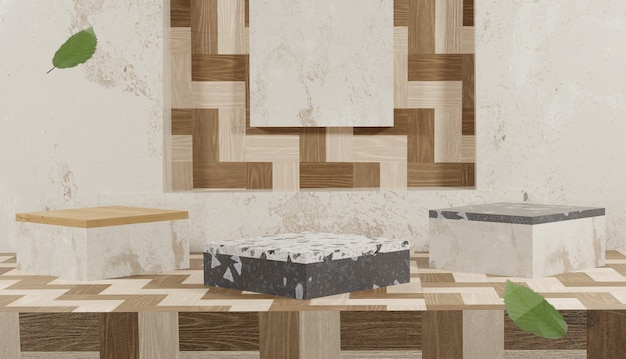 Suporte de madeira vazio e terraço com renderização em 3d e folhas caindo no outono