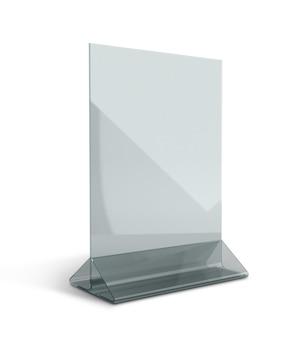 Suporte de menu transparente em acrílico base triangular isolada com caminhos de trabalho