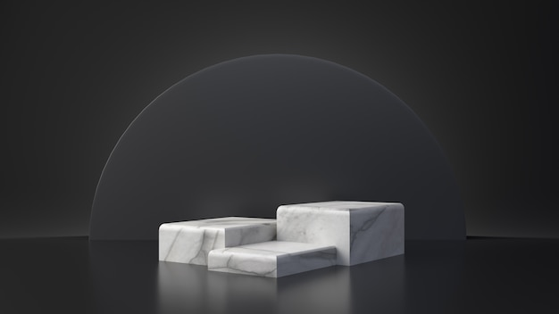 Suporte de mesa de retângulo de produto de mármore branco sobre fundo preto. conceito abstrato geometria mínima. plataforma de pódio de estúdio