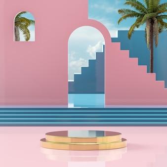 Suporte de palco de pódio dourado no céu azul tropical na costa do mar para colocação de produto renderização em 3d