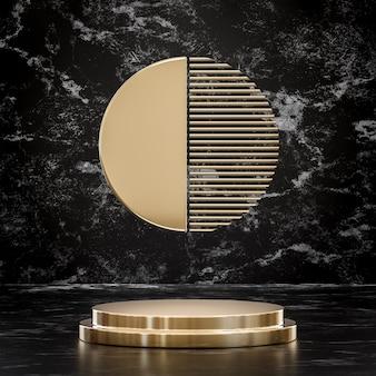 Suporte de palco dourado para colocação de produto em fundo preto renderização 3d