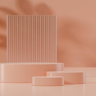 Suporte de palco moderno bege e vidro para colocação de produto renderização em 3d