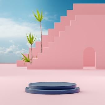 Suporte de palco pódio em fundo de céu azul nublado para colocação de produto renderização em 3d