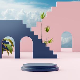 Suporte de palco pódio em fundo de céu azul nublado tropical para colocação de produto renderização em 3d