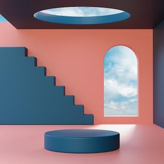 Suporte de palco pódio em geometria abstrata fundo de céu azul para colocação de produto renderização em 3d