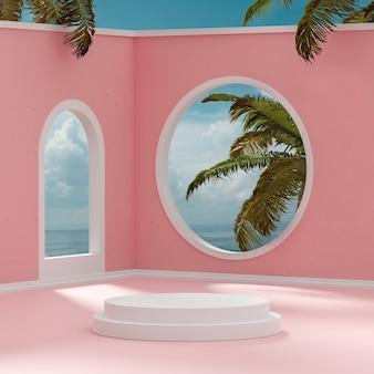 Suporte de palco pódio na sala abstrata céu azul nublado fundo tropical 3d render