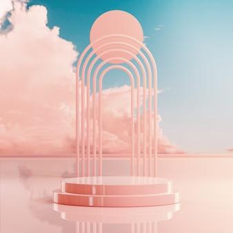 Suporte de palco pódio no fundo do céu nublado da hora dourada para colocação de produto renderização em 3d