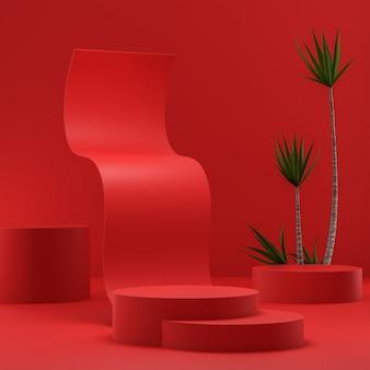 Suporte de palco pódio para colocação de produto árvores tropicais fundo abstrato vermelho