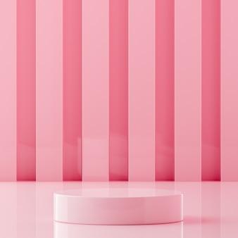 Suporte de palco rosa em fundo rosa para renderização 3d de colocação de produto