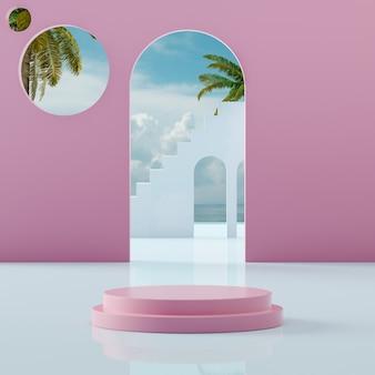 Suporte de palco rosa no céu azul tropical na costa do mar para colocação de produto renderização em 3d