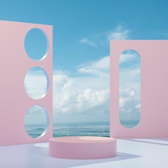 Suporte de palco rosa para colocação de produto em um fundo de céu e oceano 3d render