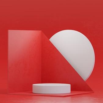 Suporte de palco vermelho branco pódio suporte moderno para colocação de produto renderização em 3d