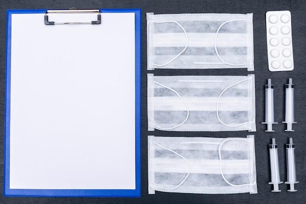 Suporte de papel para relatórios médicos, máscaras, agulhas e comprimidos