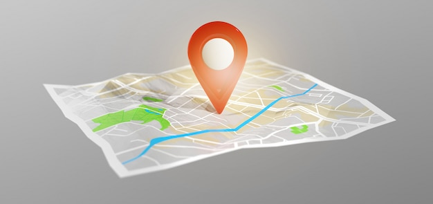 Suporte de pino de renderização 3d em um mapa