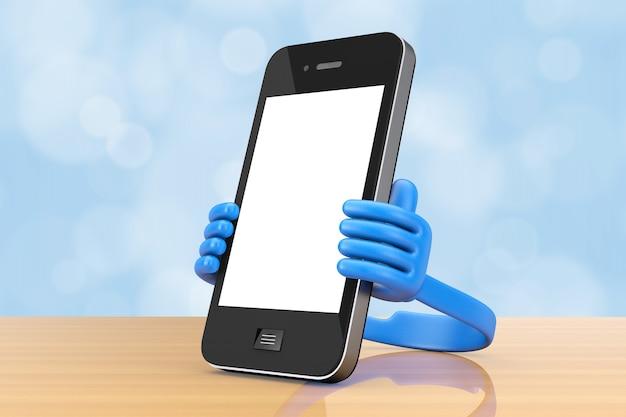 Suporte de plástico para celular como as mãos segure o smartphone em uma mesa de madeira. renderização 3d.
