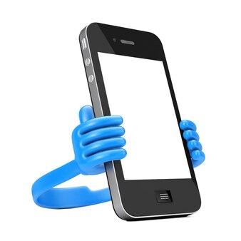 Suporte de plástico para celular como as mãos segure smartphone em um fundo branco. renderização 3d.