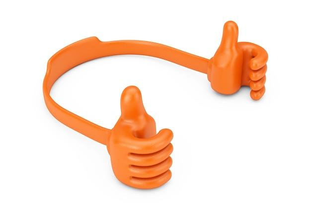 Suporte de plástico para telefone móvel como mãos em um fundo branco. renderização 3d.