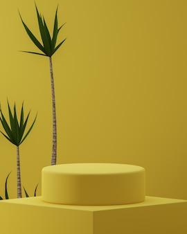 Suporte de pódio abstrato amarelo com plantas tropicais Foto Premium