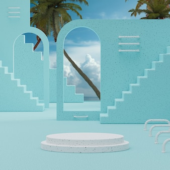 Suporte de pódio branco céu azul com árvores de fundo para colocação de produto renderização em 3d