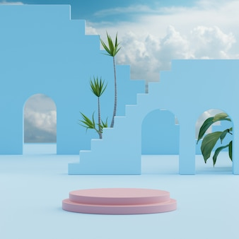 Suporte de pódio céu azul com fundo de árvores tropicais para colocação de produto renderização em 3d