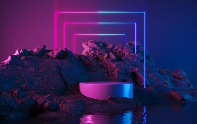 Suporte de produto em branco com forma geométrica de luz neon