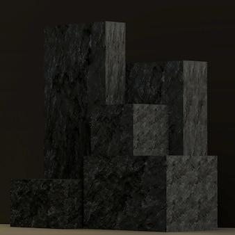 Suporte de produtos de renderização 3d em blocos com textura de pedra