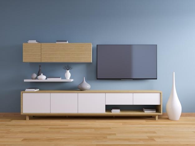 Suporte de tv e interior moderno de design de sala de estar