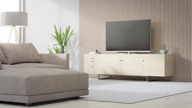 Suporte de tv perto da parede de madeira da luminosa sala de estar e sofá contra televisão em casa ou apartamento moderno.