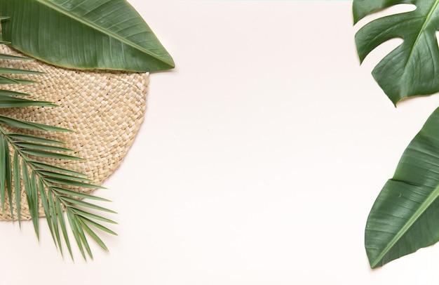 Suporte de vime redondo e folhas de palmeira na parede rosa