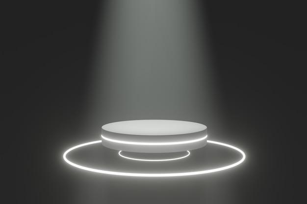 Suporte do produto pódio, futuro ou conceito de sapce, renderização 3d de luz de palco.